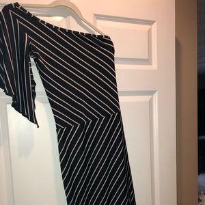 One shoulder black striped asymmetrical dress